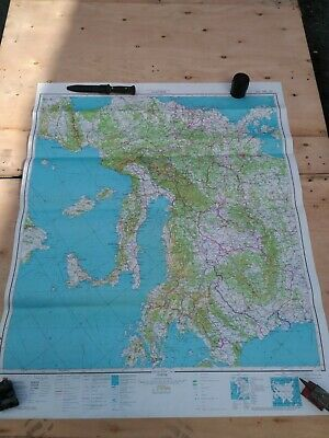 Vintage Big Authentic Soviet Army Military Topographic Map Europe