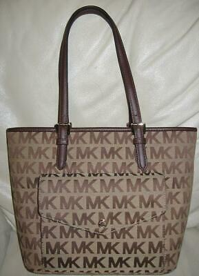 30c8369fe8d010 MICHAEL KORS SIGNATURE FRAME TOTE in FAWN MEDIUM POCKET FRONT FRAME TOTE  NICE MK