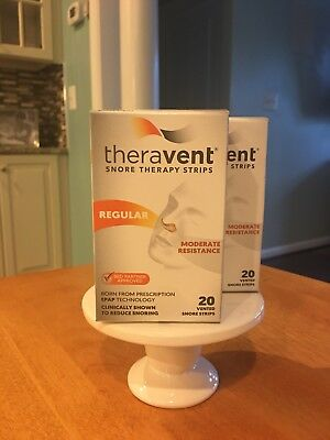 2X 20= 40ct Strips Theravent Snore Therapy Regular Strength, EPAP Technology