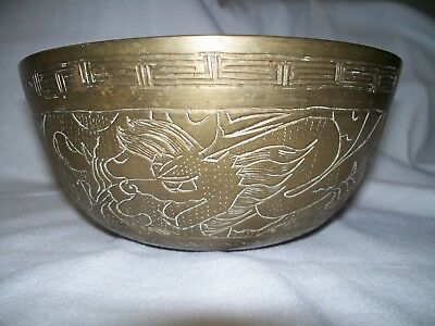 Antique Vintage Brass Bowl 8 Inch Engraved Etched China Dragon #2