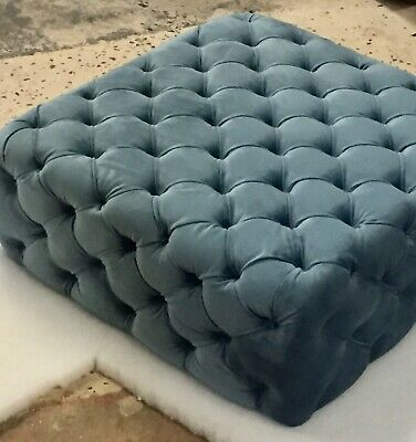 Sky Blue Chesterfield Style deep Buttoned Velvet Coffee Table !!!