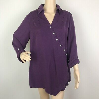 da97893594f Soft Surroundings Washed Tencel Tunic Top Large Purple Crossover Front  Lyocell