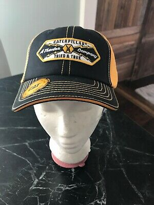 46bd3095 CAT Caterpillar Equipment Hat Work Wear Construction New Tags Black Snapback