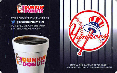 Dunkin Donuts Ny New York Yankees Rechargable Gift Card *No Value* Coffee #2