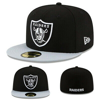 66cf44298a5 New Era NFL Oakland Raiders 5950 Fitted Hat Black Grey 2Tone Official Game  Cap