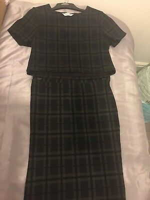 600812f259 Miss Selfridge Tartan Style Crop Top And Midi Skirt Co-ord Size 12