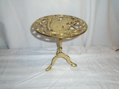 """Vintage solid brass small round table pedestal stand 8 1/2"""" Tall squirrel"""