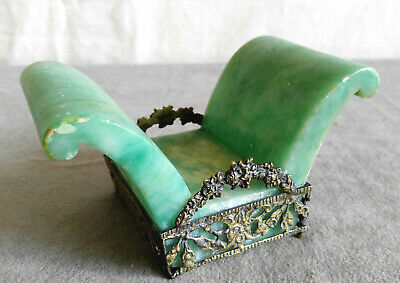 Vintage Carved Stone Italy Green Marble Alabaster Brass Holder Vanity