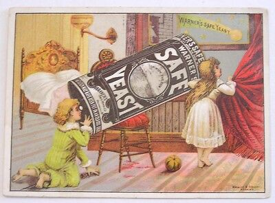 Vintage Victorian Trade Card Warners Safe Yeast Kids Using Can as Telescope