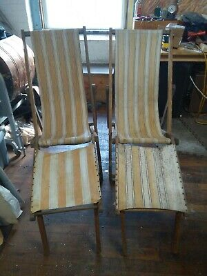 (2) Antique Gold Metal folding beach chairs