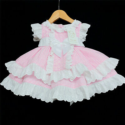 Beautiful Wee Me Baby Girl Pink Spanish Stripe Puff Ball Dress Lace Trimmings