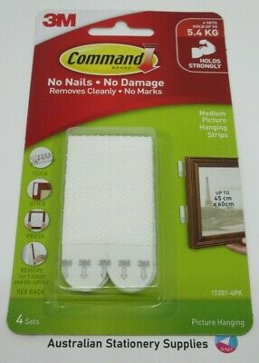 Command by 3M Picture Frame Hanging Strips Holds 5.4kg Rental Safe 17201 pk4