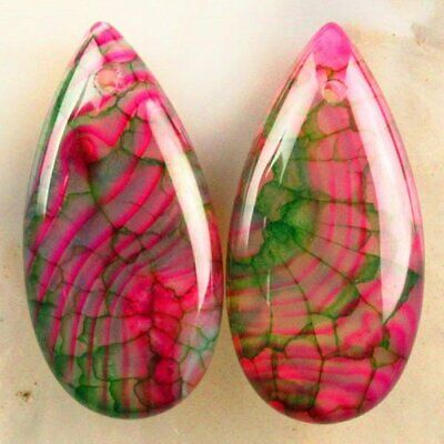2Pcs Peachblow Green Dragon Veins Agate Teardrop Pendant Bead CLWSD19329