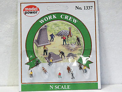 MODEL POWER 1337 N scale WORK CREW 9 pieces hand painted New on card