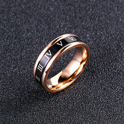 6mm Stainless Steel Rose Gold Roman numerals Band Women's Spinner Ring Size 6-9