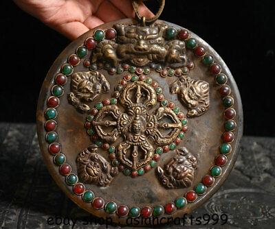 "6"" Old Tibet Crystal Silver Gem Phurba Dagger Holder Buddha Head Plate Wall Hang"