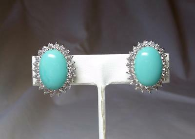 Costume Jackie Collins Estate Earrings Yellow Diamond Paste Sterling Silver Celebrity