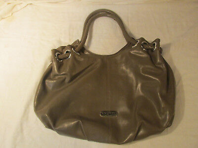 Pre-Owned Used Nine West Hand Bag Tote Purse Grey Double Handle Faux Leather