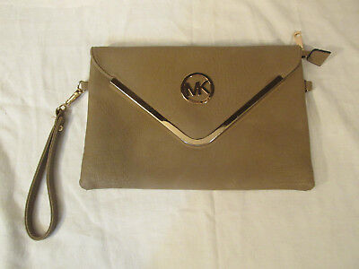 Pre-Owned Used Michael Kors Clutch Hand Bag Tote Purse Leather Gold