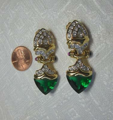 Jackie Collins Estate Earrings Art Deco Rhinestone Paste Monumental Celebrity Jewelry & Watches
