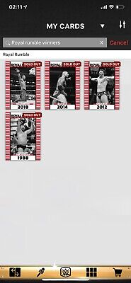 wwe topps slam digital 4 X Royal Rumble Winners Inserts