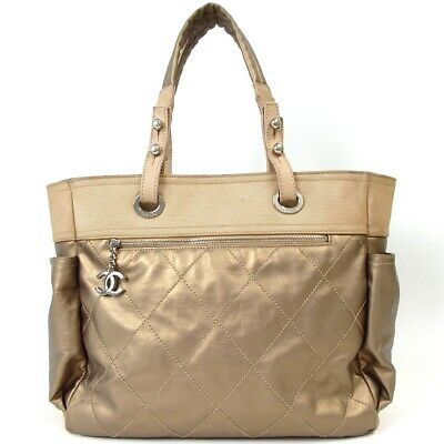 529ccaf808d0 AUTHENTIC CHANEL PARIS Biarritz Tote MM Tote Bag Coating canvas[Used ...