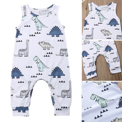 Newborn Baby Boy Girl Dinosaur Romper Dungarees Jumpsuit Playsuit Clothes Outfit