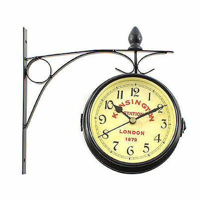 Double Sided Wall Mounted Clock Antique Wall Clock Watch KINSINGTON LONDON