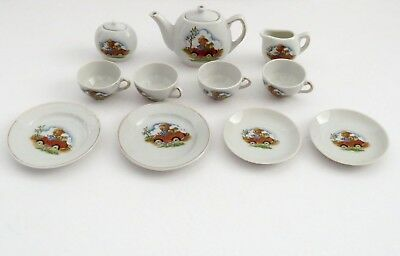Vintage  Dollhouse Miniatures Porcelain Tea Set Made In Japan