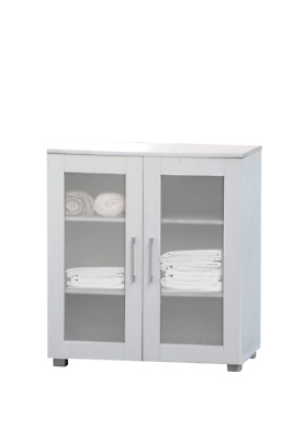 Pantry Cupboard 2 Door Low White Storage Cabinet
