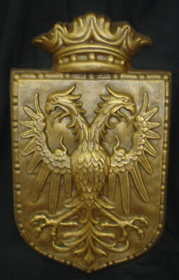 Double Headed Eagle Crest Shield Coat Arms Herald  Bronze Finish