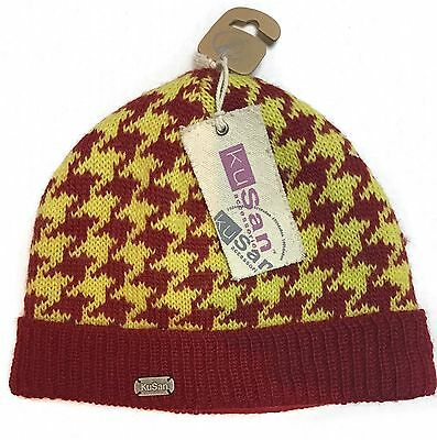 5f3722307 KuSan Pullon Hat Beanie One Size 100% Wool Red Yellow Unisex Winter Warm NEW