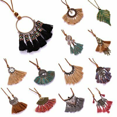 Vintage Tassel Fringe Pendant Necklace Leather Rope Long Women Sweater Chain
