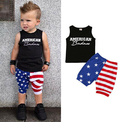 2019 Newborn Baby Boy American Flag Outfits Tops Vest+Short Pants Clothes Summer