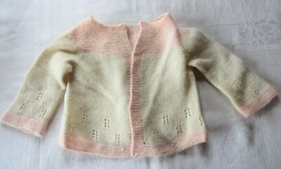 Vintage Hand Knit Baby Sweater Cardigan Ivory & Pink Open Front