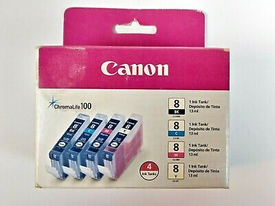 Canon CLI-8 Black, Cyan, Magenta & Yellow 4 Ink Pack Color 4