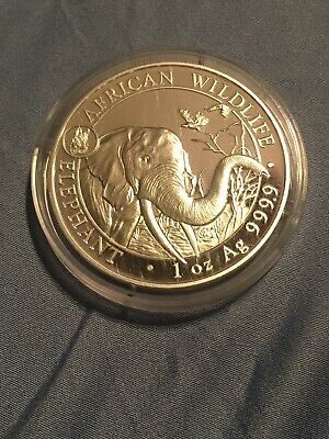 Somalia African Wildlife Elephant, Dog Privy 2018 1 oz .9999 Silver Coin, BU