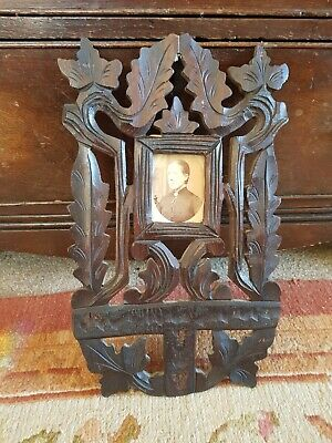 Antique Arts And Crafts carved Oak Frame With woman photograph