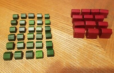 Monopoly Wooden Replacement Pieces 30 Houses 13 Hotels Deluxe Edition Board Game