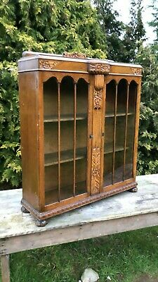 Beautiful Antique Vintage Wooden Display China Cabinate With Key *