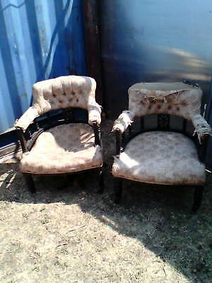 two matching  victorian  open galery  armchairs