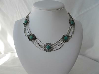 Turquoise Chinese Export Necklace Silver Antique Festoon Victorian 1880 Art Deco