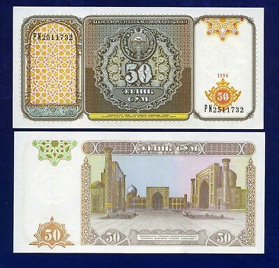 Uzbekistan P-78 Fifty Sum Year 1994 Ex-USSR Uncirculated Banknote Asia