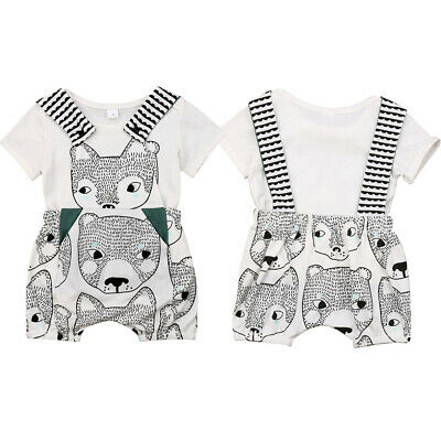 Newborn Infant Boy Girl Animal Clothes T-shirt+Bib Pants Overall Outfits Sunsuit
