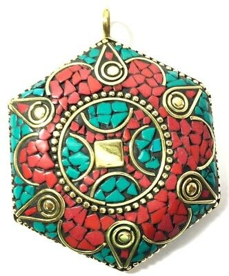 Coral With Blue Turquoise Handmade Old Tibetan Style Pendant 6.5 Cm Brass Plated