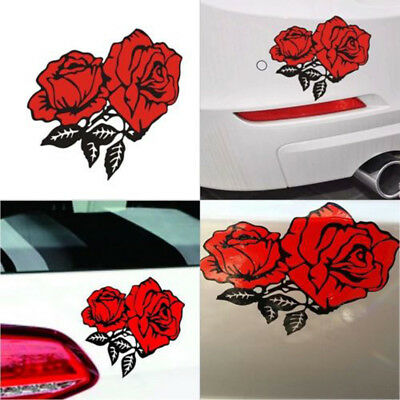 3Pcs Red flower Sticker Car Bumper Van Window Laptop Decals Car Stickers #HD3