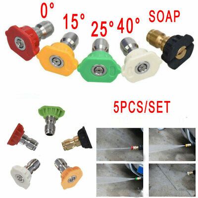 5PCS Pressure Washer Spray Nozzles Tip Set Variety Degrees Quick Connect UK