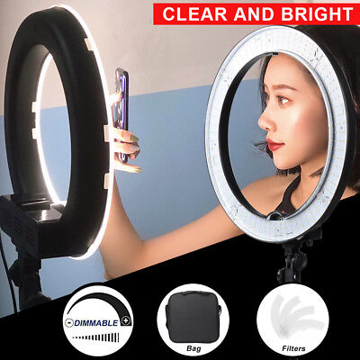 18'' Dimmable SMD LED Ring Light Lighting Kit with Color Filters for Photo Video