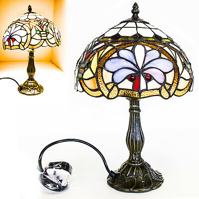 Beautiful Flower Design, Clear Jewels effect Glass TIFFANY Style Table Base Lamp