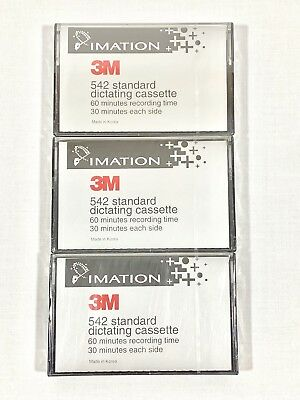 3M Standard Dictating Cassette 60 Minutes Recording Time Lot of 3 Factory Sealed